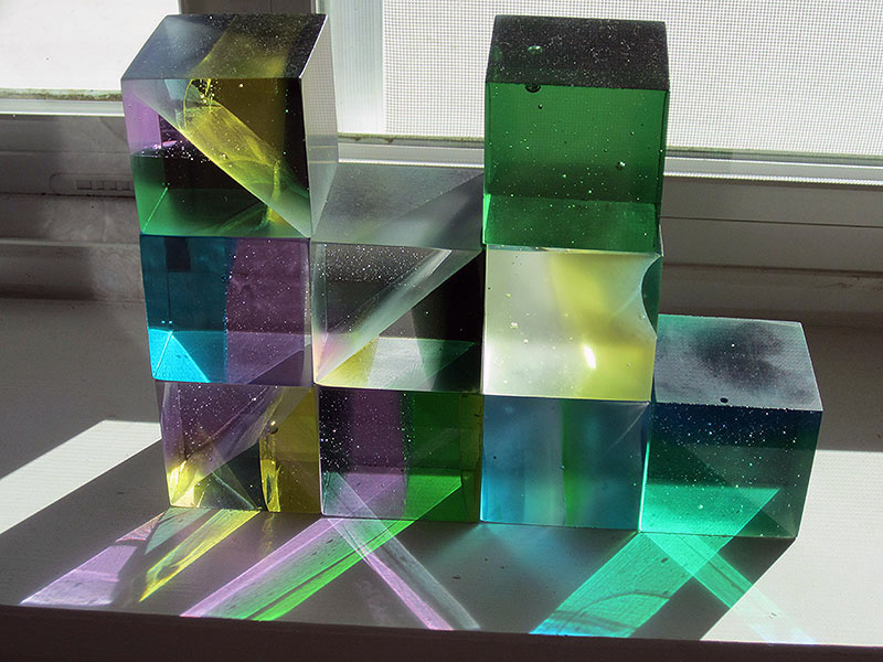 "Untitled- 9 kiln cast & cold worked 2 x 2"" art glass cubes"