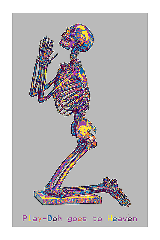 Play-doh goes to Heaven- reworked digital image of a praying male skeleton, pub. in Osteographia 1733