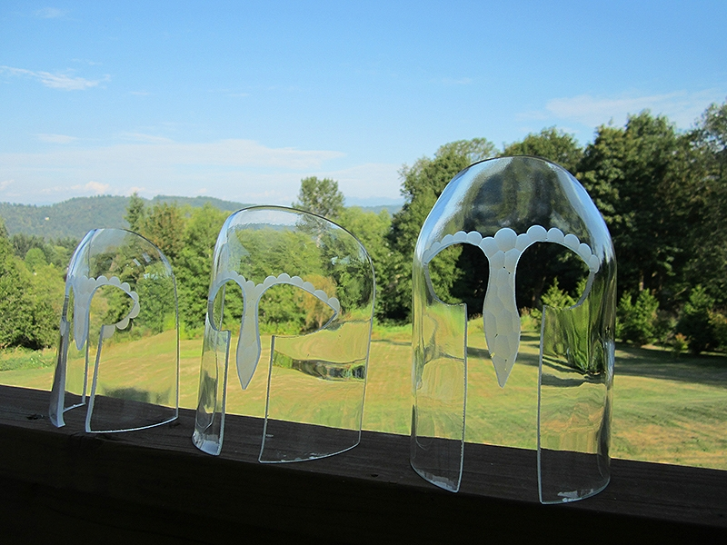 3 untitled glass masks- Battuto engraved on cut & ground bottle glass